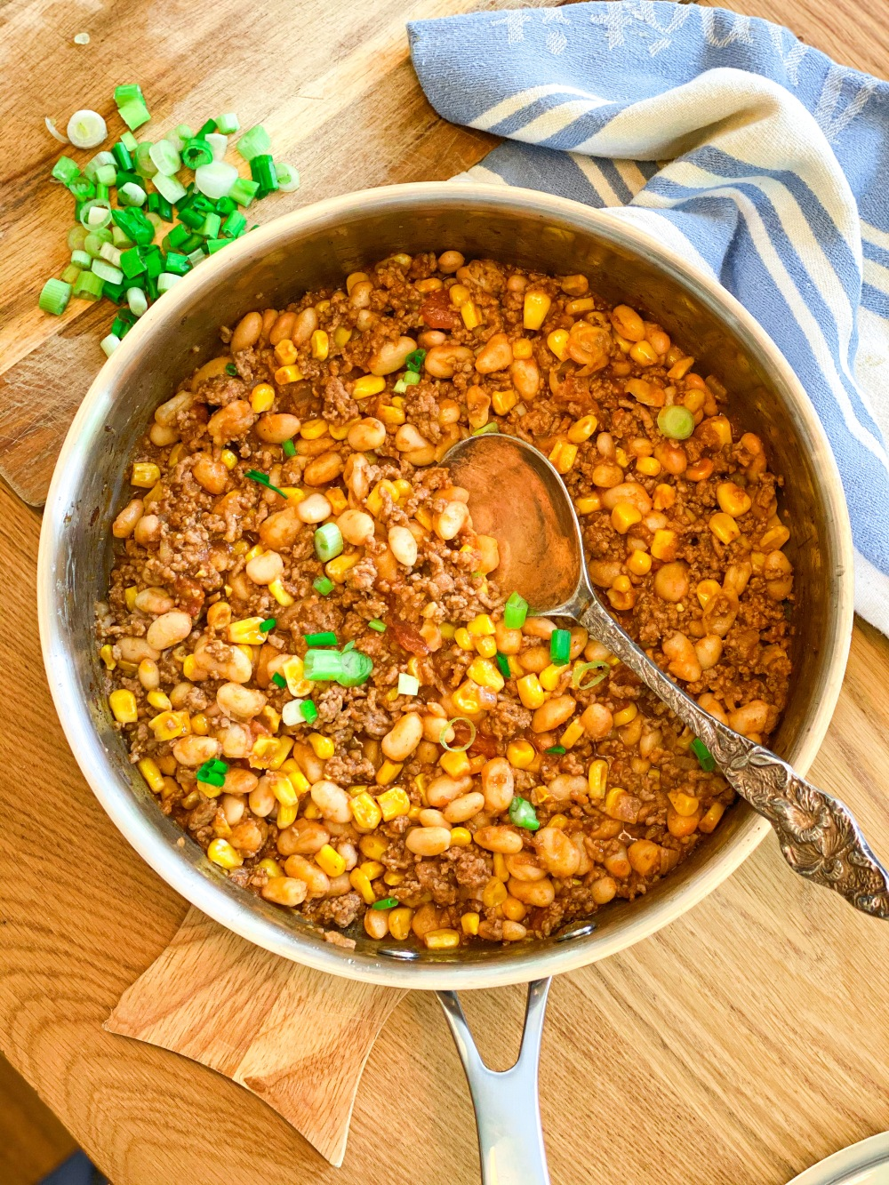 Ground beef with corn and beans